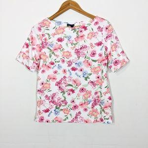 Karen Scott Cuffed Sleeve Floral T Shirt